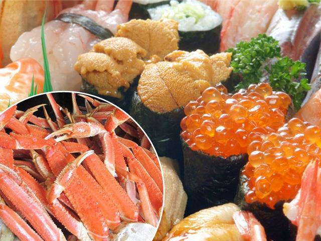 本ズワイガニと寿司の食べ放題画像